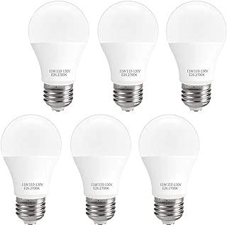 SUNMEG LED Light Bulbs Soft White 100 Watt Equivalent, 11W A19 LED Bulb, E26 Base Light Bulb, 1000 Lumens,120VAC, UL Listed (A60-11W-6P-2700K)