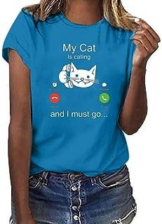 FELZ Camiseta para Mujer Camiseta Mujeres Casual Gato Impreso Manga Corta Cuello Redondo Blusa Tops Casual Basica tee