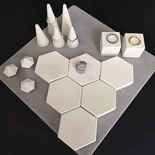 Atelier Ideco - Conjunto de 16 Pantallas Con Joyas Blancas, Conos Y Mini Soportes de Diamantes Anillos de Hormigón