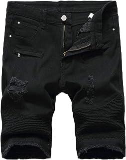 GAGA Mens Classic Fit Knee Ripped Hole Ripped Moto Biker Denim Jeans Pants