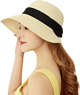 Masubo Women Summer Beach Hat Womens Straw Sun Hats Beach Caps Wide Rim Sun Hat for Ladies