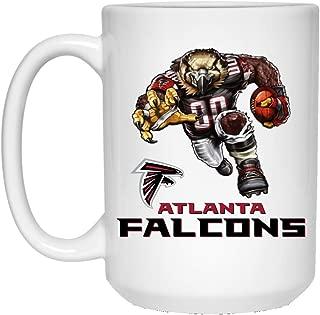 Atlanta Falcons Coffee Mug Fierce Falcon Player Mascot Logo Mug 15 oz White Ceramic Coffee Mug Cup Great for Tea and Hot Chocolate NFL NFC Football Perfect Gift for any Falcons Fan