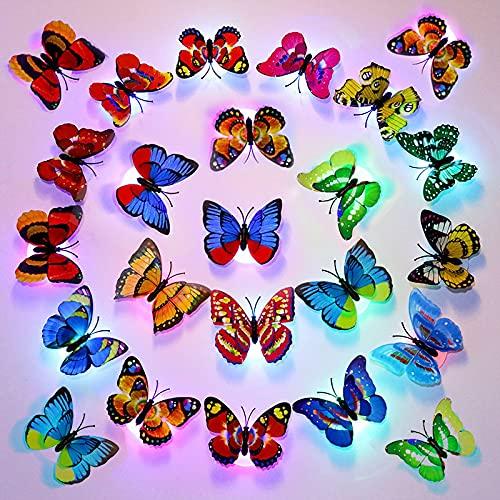 (Packung mit 24 Stück) 3D Bunt Schmetterling Wanddeko Licht, Flash LED Deko Beleuchtung Nachtlicht, Glasfaser-Schmetterling für Kinderzimmer Schlafzimmer Wanddekoration
