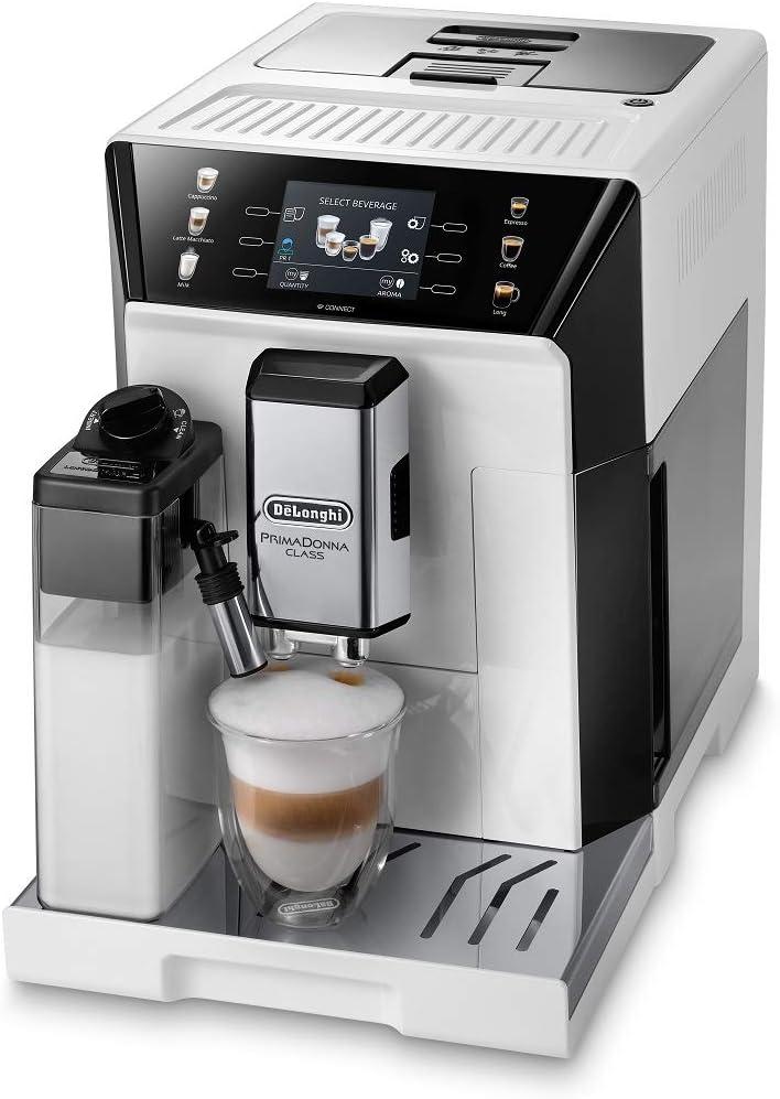 De'Longhi PrimaDonna Class ECAM 550.65.W - Cafetera automática con sistema de leche, capuchino y expreso pulsando un botón, pantalla TFT a color de 3,5 pulgadas y control por aplicación, color blanco