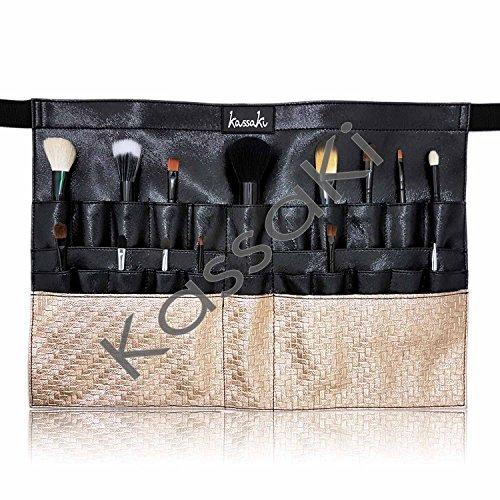 Ceinture de maquillage, tablier pour artiste cosmétique, pinceaux, correcteur, eyeliner, doré