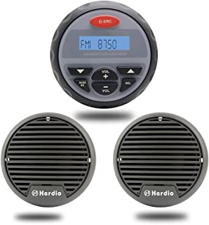 Marine Bluetooth Stereo Speakers Package 4 inches Waterproof Radio Boat Sound System AM FM Receiver USB MP3 Player With 3 ...