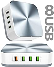 Multiple USB Wall Charger,8-Port Charging Station with Quick Charge 3.0 USB Port,50W 10A Charger Adapter Multi Port Fast USB Charger for 11 11 Pro 11 Pro Max XS Max XR X8 8Plus,iPad Pro,Galaxy