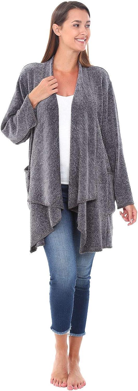Alexander Del Rossa Knit Fleece Open Front Sweater Robe, Draped Aztec Geometric Design