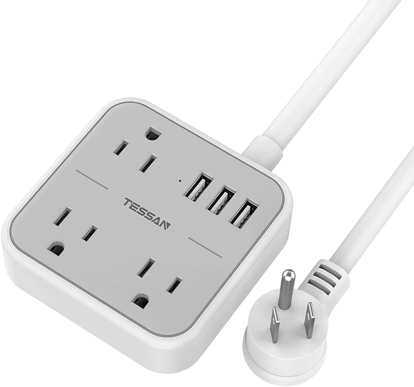 Power Strip with USB, TESSAN Flat Plug Extension Cord with 3 USB Ports, Mini Travel Power Strip with 3 Widely Spaced Outlets, 5 Feet Cord, Compact for Dorm Essentials, Cruise Ship, Hotel, Home, Gray