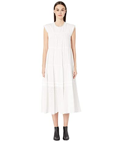 See by Chloe Textured Georgette Flutter Sleeve Dress (White) Women