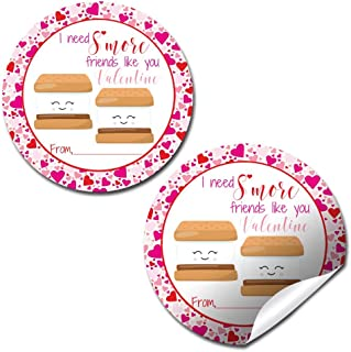 """S'more Friends Like You Valentine Party Favor Sticker Labels, 40 2"""" Party Circle Stickers by AmandaCreation, Great for Cla..."""
