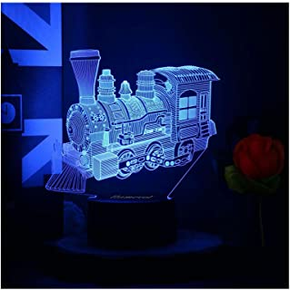 Toy Train Night Light for Kids LED Table Lamp 3D Illusion Optical Car Steam Train Locomotive Engine Birthday Gifts for Men...