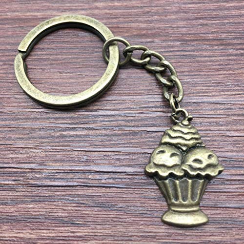 JLZK Keyring Cake Cup Cake Ice Cream Keychain 27x18mm Bronze Handmade Metal KeyChain Souvenir Gifts For Women