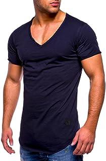 Hanaturu(ハナツル) 切っぱなしデザイン メンズ 半袖tシャツ Vネック/丸首 無地 トップス おしゃれ 夏服 ダンス スポーツ 人気 格好いい 上着 カジュアル インナーシャツ カットソー M-3XL