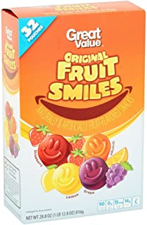 Great Value Original Fruit Smiles, Box of 32 Pouches