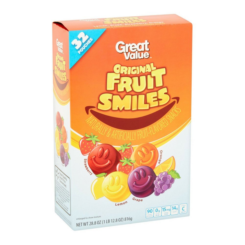 Great Value Original Fruit Smiles 32 Rapid rise Box Pouches of Award