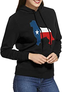 Texas Flag Lone Star Golden Retriever Women's Hoodies Long Sleeve Pullover Sweatshirt Sweater Coat