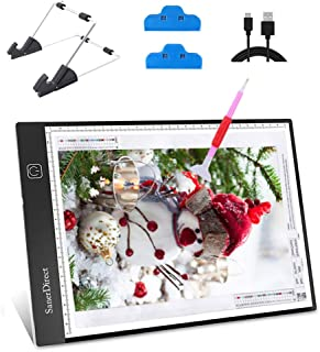 SanerDirect Diamond Painting A4 LED Light Pad - Tracing Light Box for Drawing, Adjustable Brightness w/Ruler, USB Powered Projector Kit with Detachable Stand and Clips