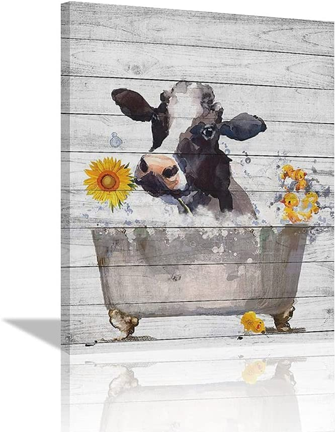 Farm Cow Bathroom Decor Canvas Wall Art, Sunflower Abstract Watercolor Vintage Bathtub Farmhouse Floral Poster Artwork Modern Home Decorations Framed Ready to Hang for Living Room Bedroom12x16inch