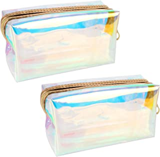 Jubaopen 2PCS Holographic Cosmetic Bag Colorful Laser Storage Bag Clear Toiletry Bag Waterproof Toiletry Bag Clear Wash Bag for Women Girls Teens Travel Gifts(18×7.5×10cm)