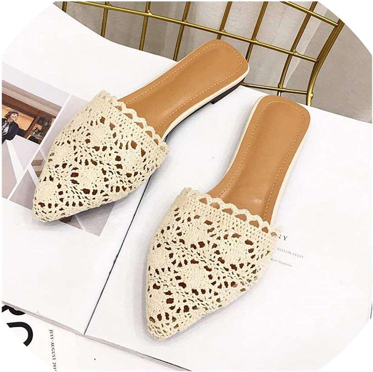 HuaHua-Store Lace Pointed Toe Flat Slides Closed Toe Mules shoes Women Slippers Outside Sandals