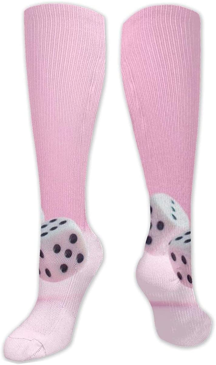 Two Dice Pink Knee High Socks Leg Warmer Dresses Long Boot Stockings For Womens Cosplay Daily Wear