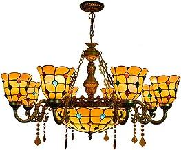 Tiffany stijl Gekleurde kralen kroonluchter vervaardigd glas multi-arm hanglamp retro klassieke plafond decoratieve hangla...