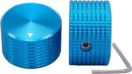 TWTADE / 2個6mm直径シャフト用の青いアルミニウム回転式電子制御ポテンショメータノブ、音量調節ノブ、オーディオノブ、ギターノブ、スイッチノブ、直径25mm。高さ15.5mm Bu