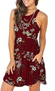 Women's Summer Casual T Shirt Sundress Swimsuit Cover Ups with Pockets