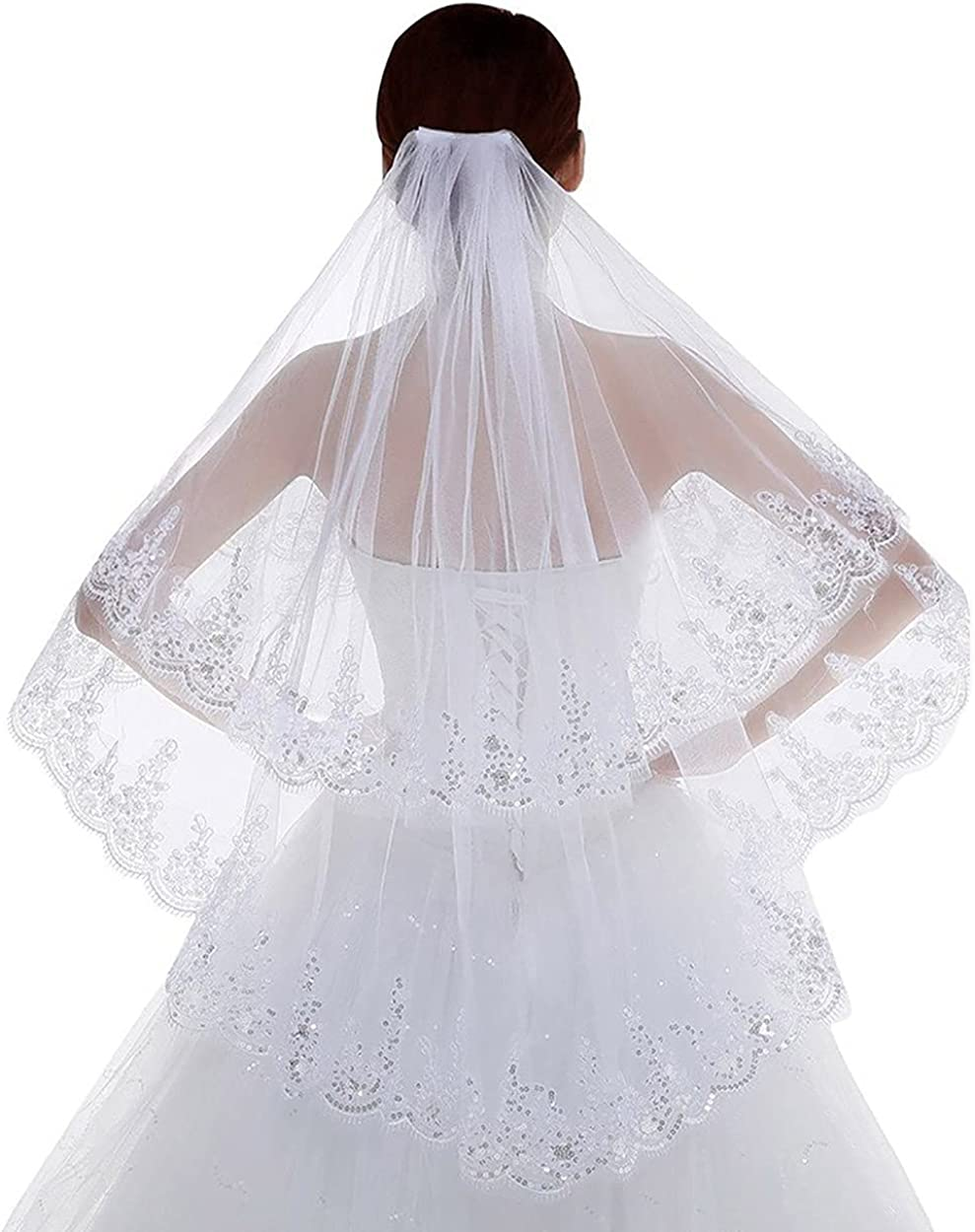 Haraty Wedding Bridal Veils 2 Tier Sequined Lace Flower Edge Tulle with Comb