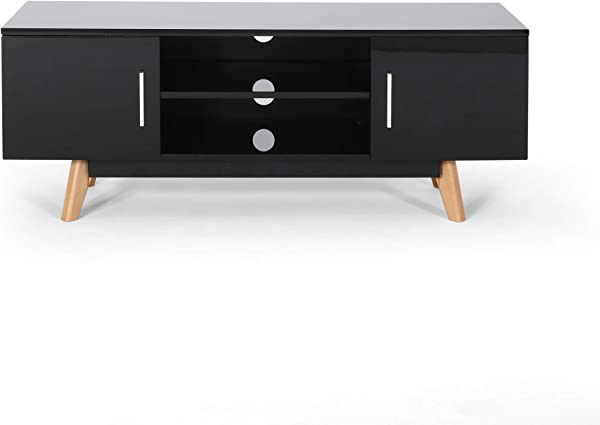 Great Deal Furniture Abby Mid Century Faux Wood TV Stand For TVs Up To 50 Black