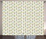ABAKUHAUS Ananas Rustikaler Gardine, Pastell Tropische Frucht, Schlafzimmer Kräuselband Vorhang mit Schlaufen und Haken, 280 x 175 cm, Mehrfarbig