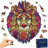 SPECOOL Puzzle in Legno Puzzle misterioso Leone 3D Puzzle colorato Unico a Forma di Animale Puzzle in Legno Miglior Regalo per Adulti e Bambini, Collezione di Giochi per Famiglie (Leone)