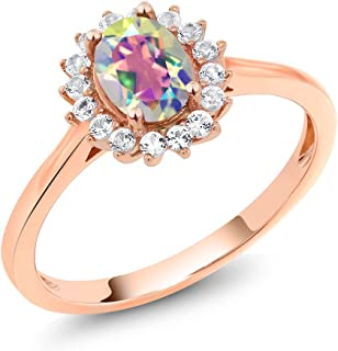 Gem Stone King 10K Rose Gold Mercury Mist Mystic Topaz and White Created Sapphire Women Ring (1.04 Ct Oval Available in size 5, 6, 7, 8, 9)