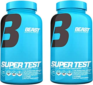 Beast Sports Super Test 180 Count Original (2 Bottles), Professional Strength, Natural Testosterone Booster Supplement w/Nitric Oxide Support for Maximum Muscle Mass, Stamina, Strength, Recovery