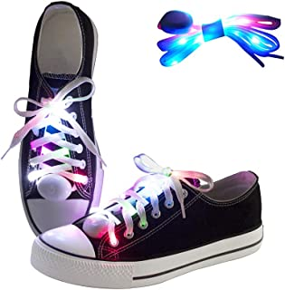 LKDEPO LED Shoelaces Light Up Nylon Shoe Laces with 3 Flashing Modes Lighting the Night