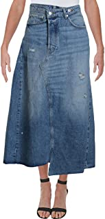 We The Free Womens Denim Distressed Skirt