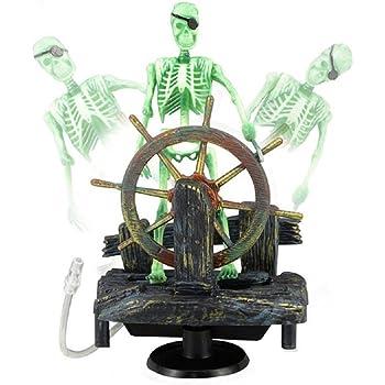 Bestgle Aquarium Ornament Air-driven Active Skeleton Pirate Captain for Fish Tank Decoration