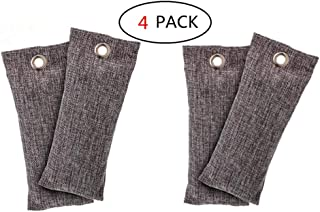 Gooder 4 Packs Mini Bamboo Charcoal Bags Natural Air Purifier Shoe Fresheners Deodorant Smell Remover Shoe Deodorizer and Odor Eliminator For Home Drawers Pets Gym Bag