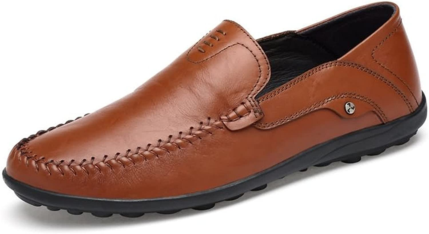 Xujw-shoes, 2018 new Men's Moccasins Leather Hollywood Driving Style Loafer (color   Light Brown, Size   7.5 UK)
