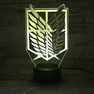 1piece 7 Colors Lamp Anime Attack on Titan Wings of Liberty 3D Light Touch LED Lamp USB or 3AA Battery-Operated Lamp Kids ...