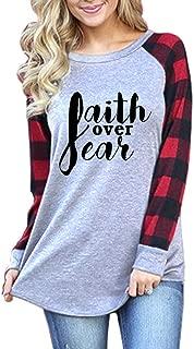 Buffalo Plaid Raglan t-ShirtsFaith Over Fear Women ChristianSweatshirtPulloverJerseyTunicTops