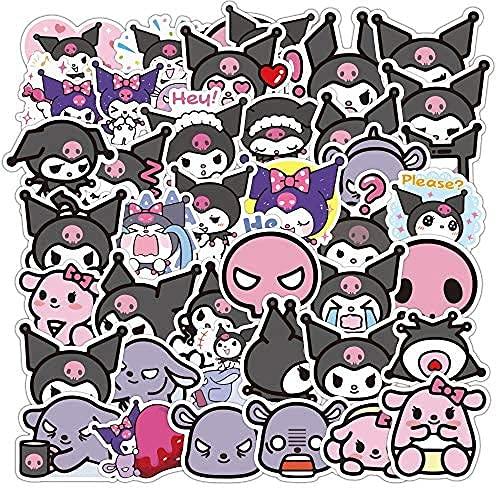 WANCHANG 50 Pz Kuromi Bagaglio Little Devil Cartone Animato Valigia Borsa da Viaggio Trolley Bagaglio Impermeabile Sticker Sticker