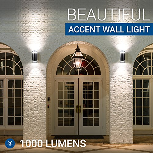 Hyperikon LED Porch Sconce Light, 12W Cylinder, Modern Outdoor Wall Lamp, 4000K Daylight, Black, Photocell, UL, 2 Pack
