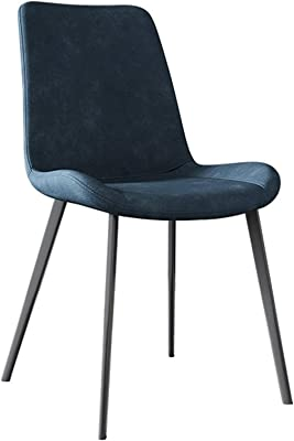 Modern Matte Suede Leather Dining Chair with Backrest Water Proof PU Leather Lounge Side Chair Living Room Bedroom Kitchen Chair Chairs (Color : Blue)