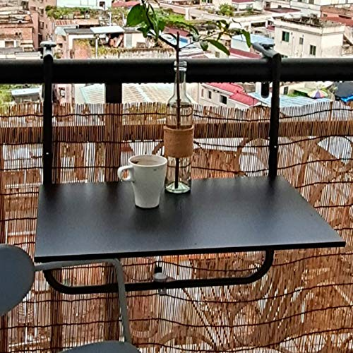 Hanging Balcony Dining Table,Metal Attachable Balcony Table,Adjustable Folding Patio Railing Side Table,Outdoor Garden Plant Furniture Floating Coffee Table Stand,60x40cm,4 Levels,Black