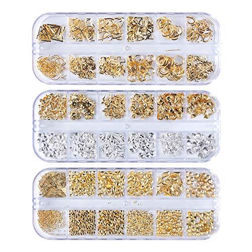 Gobesty Nagel Art Strassstein Glitter Strass, 3 Boxen 3D Nagel Kunst Strasssteine Kit Fingernägel Aufkleben Zubehör für Nagel Kunst Dekorationen Lieferungen