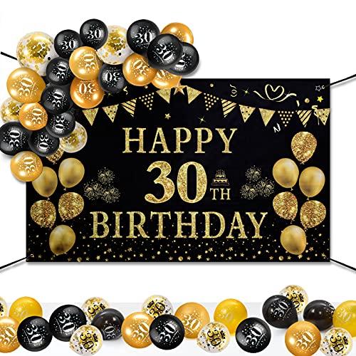 30 Decorazioni Compleanno Oro Nero, GuKKK Birthday Party Background, Cheers To Years Bandiera, Happy Birthday Banner, 30 Anni Poster di Tessuto Sfondo Fotografico Con 15 Pcs Palloncino in Lattice