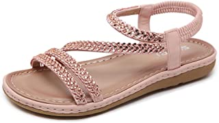Wollanlily Women's Bohemia Glitter Summer Flat Sandals Comfortable Casual Beach Shoes Elastic Ankle Strap Flip Flops Sandals