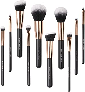 Brush Master Makeup Brushes Set, Premium Synthetic Kabuki Foundation Face Powder Eyeshadow Blush Lip Cosmetic Brush Kit 10Pcs